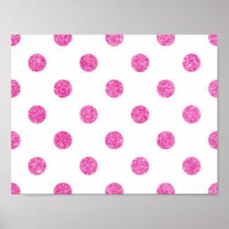 Elegant Hot Pink Glitter Polka Dots Pattern Poster