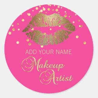 Elegant Hot Pink Gold Lips Business Makeup Artist Classic Round Sticker