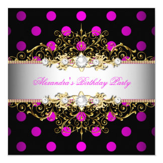 Elegant Hot Pink Gold White Black Polka Dot Party Card