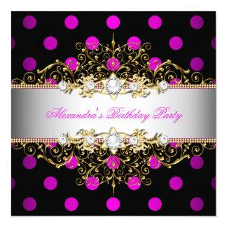 Elegant Hot Pink Gold White Black Polka Dot Party 5.25x5.25 Square Paper Invitation Card