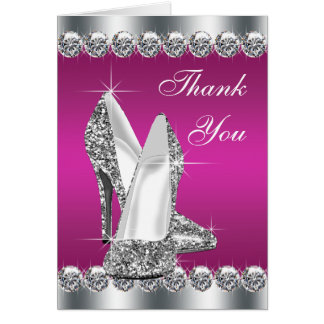 Elegant Hot Pink High Heel Shoe Thank You Cards Note Card