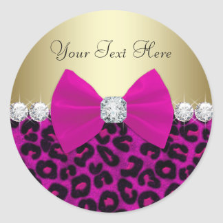 Elegant Hot Pink Leopard Stickers