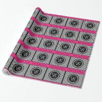 Elegant Hot Pink Monogram Chevron Pattern Wrapping Paper