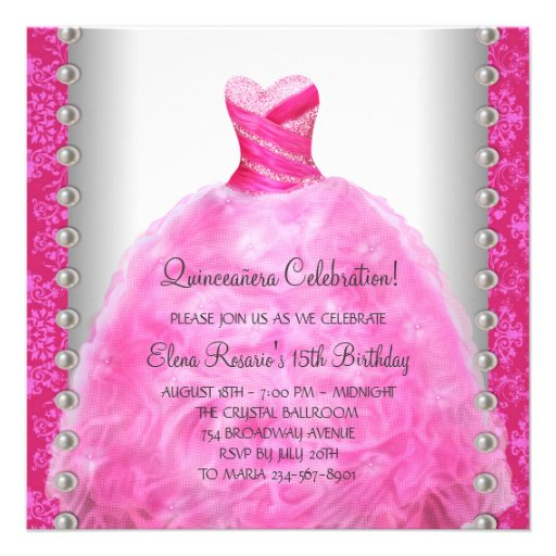 Elegant Hot Pink Quinceanera Invitation