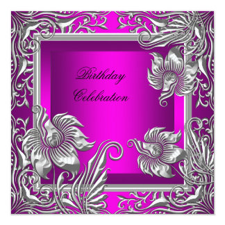 Elegant Hot Pink Silver Floral Birthday Party Card
