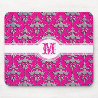 Elegant Hot Pink Silver Shimmer Embossed Damask Mousepads