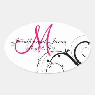 Elegant Hot Pink Swirl Monogram Wedding Stickers