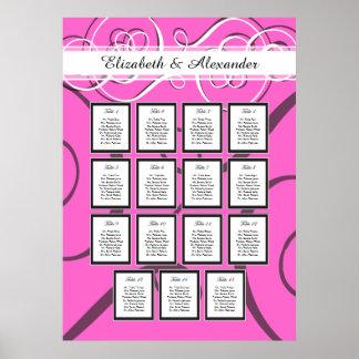 Elegant Hot Pink Wedding 15 Table Seating Chart Poster