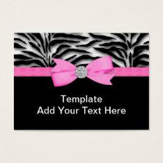 Elegant Hot Pink Zebra Business Cards at Zazzle