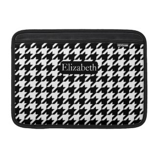 Elegant Houndstooth Black and White with Name Sleeve For MacBook Air