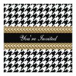 "Elegant Houndstooth Black White Gold Party Invite 5.25"" Square Invitation Card"