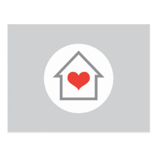 Elegant house and heart new address moving postcard