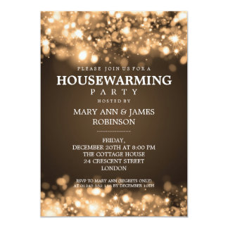 Elegant housewarming party invitations announcements zazzle elegant housewarming party gold sparkling lights card stopboris