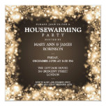 Elegant Housewarming Party Gold Sparkling Lights Custom Announcement
