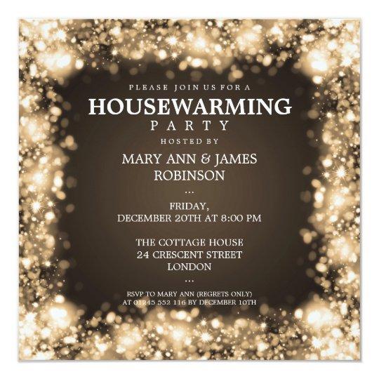 elegant housewarming party gold sparkling lights invitation zazzle com