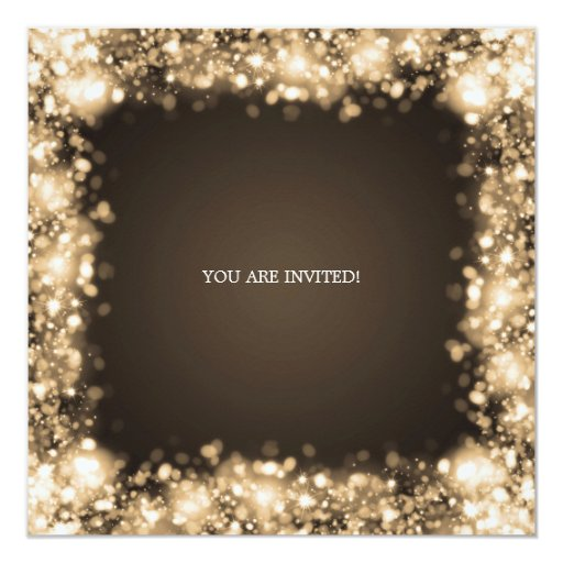 Elegant Housewarming Party Gold Sparkling Lights Custom Announcement (back side)