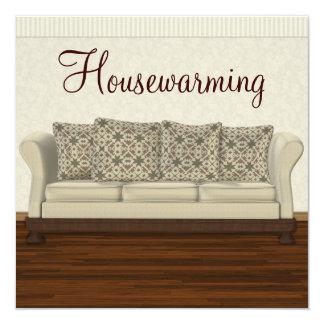 Elegant Housewarming Party Neutral Lounge 5.25x5.25 Square Paper Invitation Card