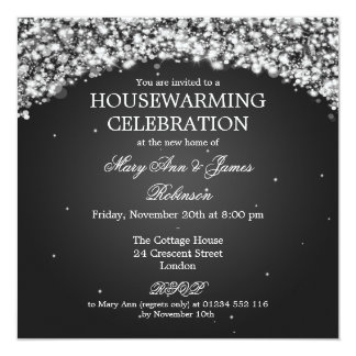Elegant Housewarming Party Sparkling Arch Black Invitation
