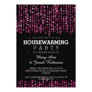 Elegant Housewarming Party Star Confetti Pink Card
