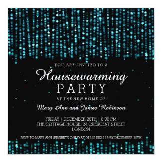 Elegant Housewarming Party Star Confetti Turquoise Invitation