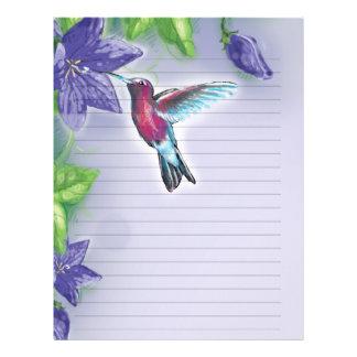 elegant hummingbird  purple flowers wedding letterhead