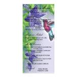 elegant hummingbird  purple flowers wedding custom rack card