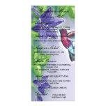 elegant hummingbird  purple flowers wedding rack card template