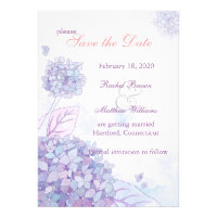 Elegant Hydrangea Blooms Floral Save the Date Personalized Invitation