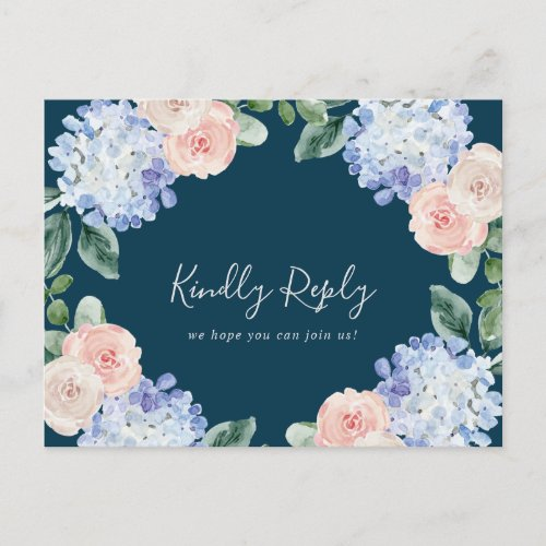 Elegant Hydrangea Navy Song Request RSVP Postcard