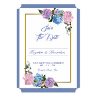 Elegant Hydrangea Save The Date card