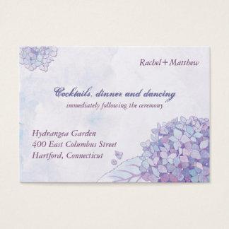 Elegant Hydrangea Wedding Reception Business Card