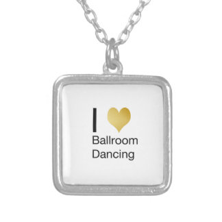 Elegant I Heart Ballroom Dancing Silver Plated Necklace