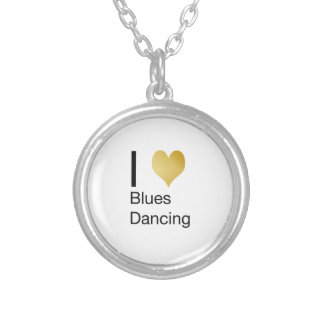 Elegant I Heart Blues Dancing Silver Plated Necklace