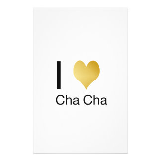 Elegant I Heart Cha Cha Stationery