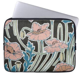 elegant icelandic poppies art nouveau design laptop sleeve