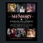 """Elegant In Loving Memory Photo Collage Memorial Poster<br><div class=""""desc"""">A rememberance poster to display at a loved ones funeral, wake or memorial service. Elegant memorial tribute poster, featuring 6 precious pictures of your lost loved one, the text """"in loving memory"""", their name, birth/death dates, and the remembrance saying """"Because someone we love is in heaven. There is a little...</div>"""