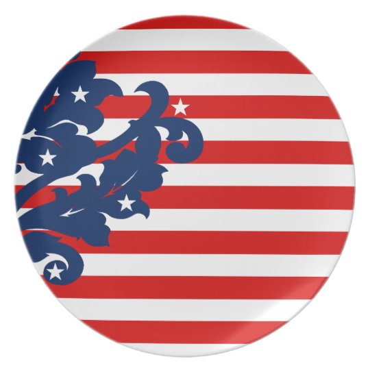 Elegant independence day damask melamine plate