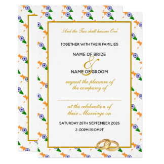 Elegant INDIA with Gold Script Celebration Wedding Invitation