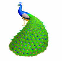 Elegant Indian Blue Peacock Pin Statuette