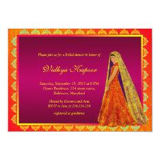 Elegant Indian Wedding Damask Bridal Shower Invite at Zazzle