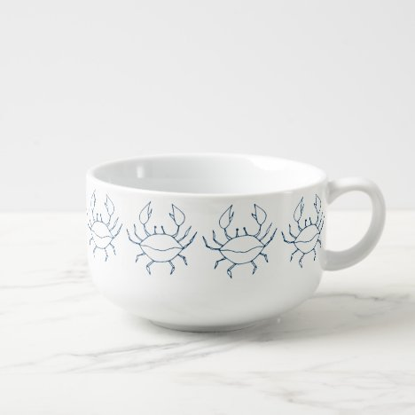 Elegant Indigo Blue Crabs - Crab Chowder Soup Mug