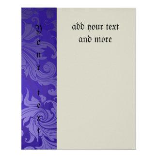 elegant, indigo ,vintage, floral ,damask,beautiful custom flyer