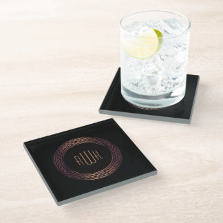 Elegant Initials | Gift for him Glass Coaster