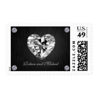 Elegant Initials wth Diamonds Wedding Postage