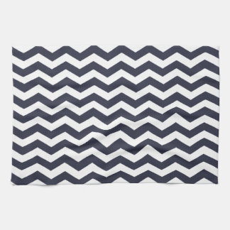Elegant Ink Blue And White Zigzag Chevron Pattern Towel