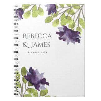 ELEGANT INK BLUE WATERCOLOUR FLORAL Personalised Notebook