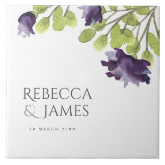 ELEGANT INK BLUE WATERCOLOUR FLORAL Personalised Tile