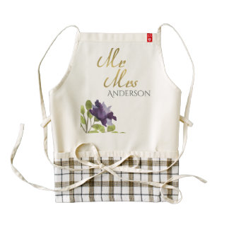 ELEGANT INK BLUE WATERCOLOUR FLORAL Personalised Zazzle HEART Apron