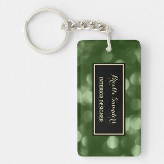 Elegant Interior Design Glamorous Green Luxe Bokeh Double-Sided Rectangular Acrylic Keychain