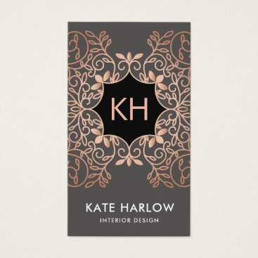 Elegant Interior Design Rose Gold Ornate Monogram Business Card